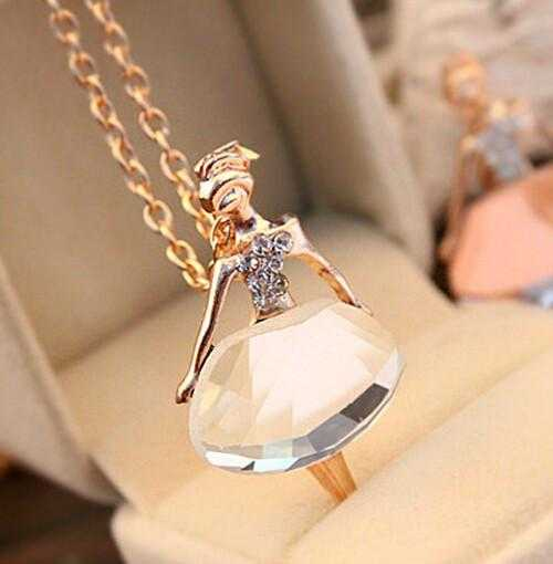 Free Ballet Girl Pendant Necklace-Necklace-Kirijewels.com-White-Kirijewels.com