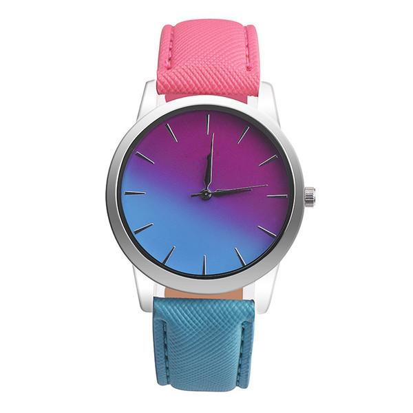 Leather Band Rainbow Wrist Watch-Women's Watches-Kirijewels.com-red & light blue-Kirijewels.com