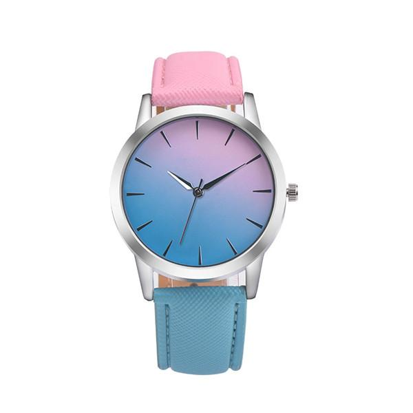 Leather Band Rainbow Wrist Watch-Women's Watches-Kirijewels.com-pink & light blue 2-Kirijewels.com