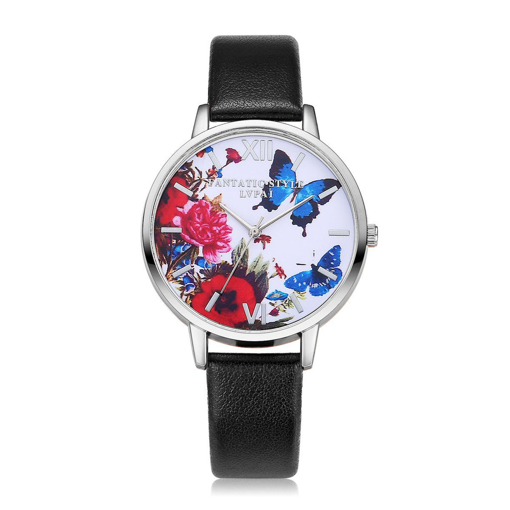 Leather Strap Printed Quartz Butterfly Wristwatch