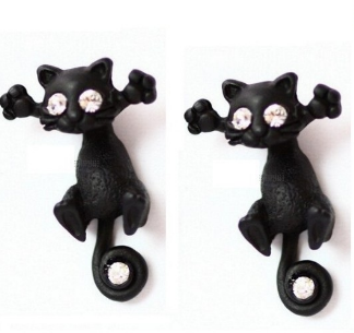 Cat Stud Earrings-earrings-Kirijewels.com-Black-Kirijewels.com