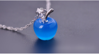 Free Apple Necklace-Necklace-Kirijewels.com-Platinum Plated-Blue-Kirijewels.com