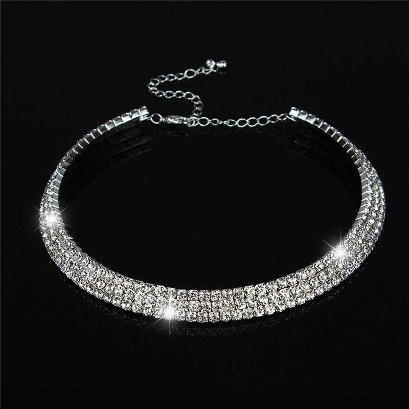 Free Crystal Wedding Birthday Necklace-Necklace-Kirijewels.com-3Rows-Kirijewels.com