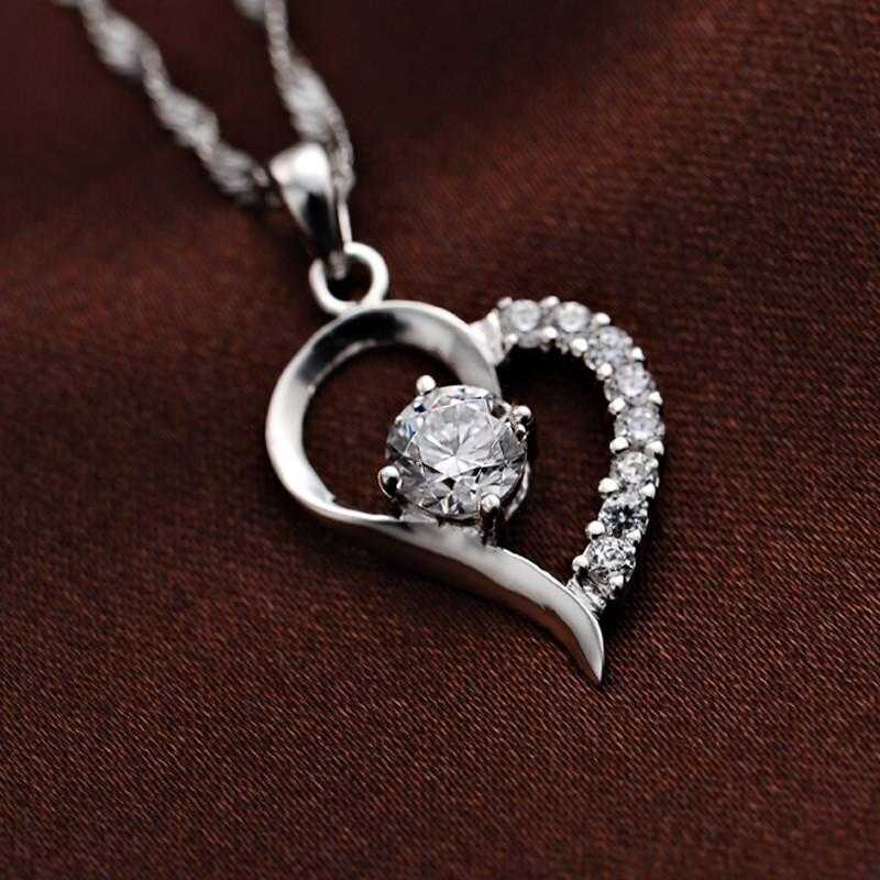 Free Silver Plated Cubic Zirconia Love Heart Necklace-Necklace-Kirijewels.com-Kirijewels.com