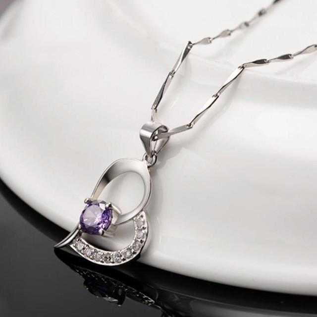 Silver Plated Cubic Zirconia Love Heart Necklace-Necklace-Kirijewels.com-Kirijewels.com