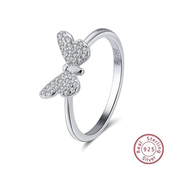 Genuine 925 Sterling Silver Butterfly Ring
