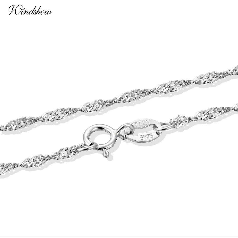 Genuine Sterling Silver Water Wave Chain Necklace-Chain Necklaces-Kirijewels.com-16in 40cm-Kirijewels.com