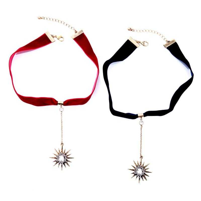Crystal Star Ribbon Choker Necklace/2-Choker Necklaces-Kirijewels.com-red necklace-37cm-Kirijewels.com