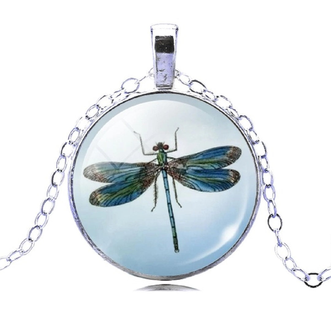 Pretty Dragonfly Crystal Pendant Necklace