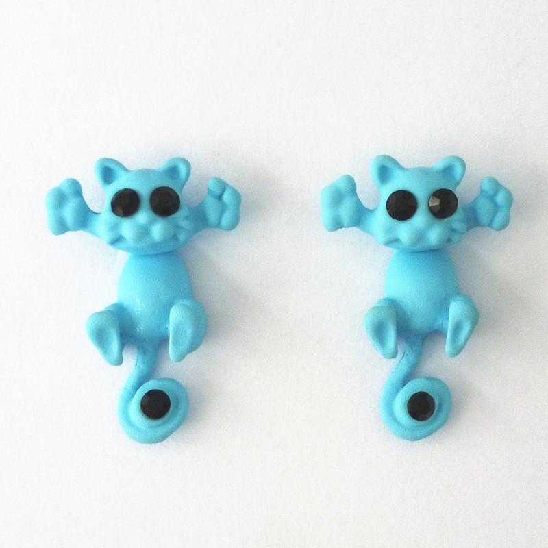 Free Cat Stud Earrings-earrings-Kirijewels.com-Light Blue-Kirijewels.com