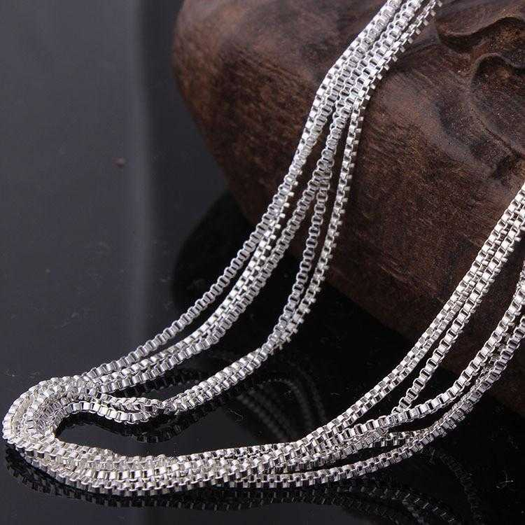 Sterling Silver Box Chain Necklace-Necklace-Kirijewels.com-16 inch-silver-Kirijewels.com