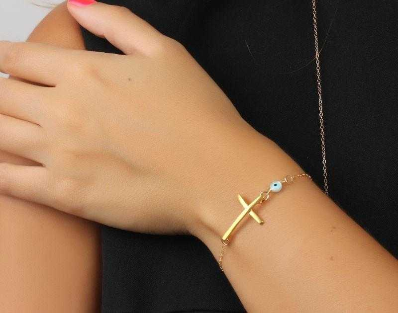 Free Chain Cross Bracelet-Bracelet-Kirijewels.com-Gold-color-Kirijewels.com