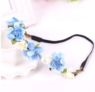 Free Handmade Flower Crown Wedding Wreath Bridal Headband-Hair Accessories-Kirijewels.com-Blue-Kirijewels.com