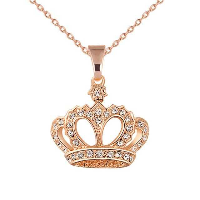Crown Snake Chain Heart Necklace-Necklace-Kirijewels.com-Gold-Kirijewels.com