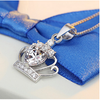 Crown Snake Chain Heart Necklace-Necklace-Kirijewels.com-Crystal White-Kirijewels.com