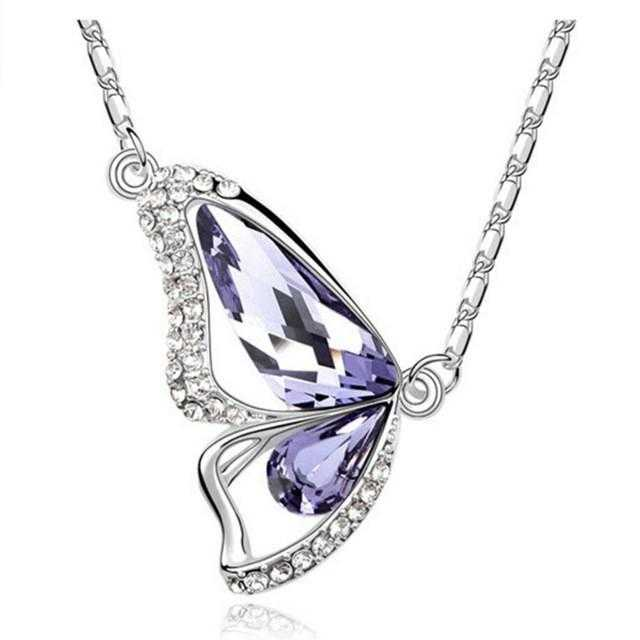 Crystal Butterfly Necklace-Necklace-Kirijewels.com-A White-40cm-Kirijewels.com