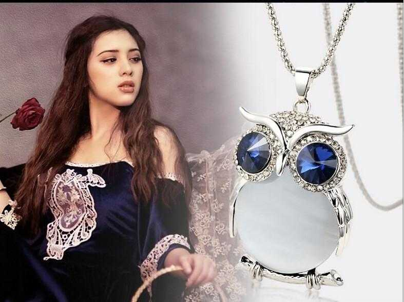 Free Crystal Owl Necklace-Necklace-Kirijewels.com-Gold Blue-Kirijewels.com