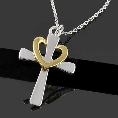 Silver Plated Heart Cross Necklace-Kirijewels.com-Kirijewels.com