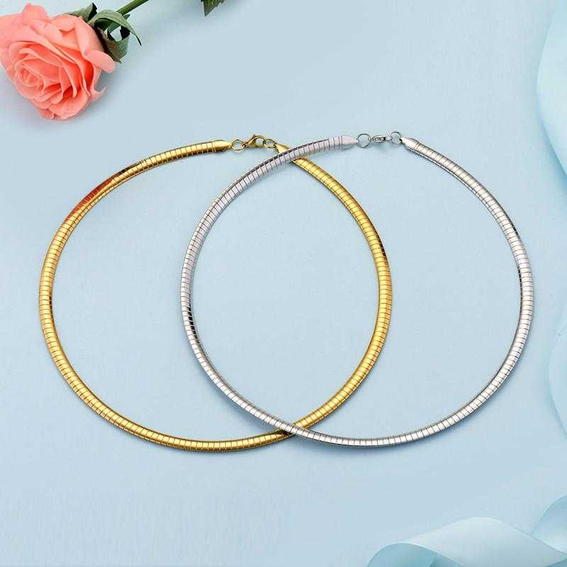 New Elegant Stainless Steel Choker Necklace-Choker Necklaces-Kirijewels.com-Gold 50CM-Kirijewels.com