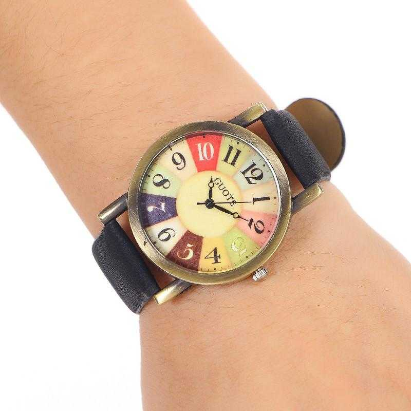 Elegant Leather Strap Rainbow Watch-Women's Watches-Kirijewels.com-Red-Kirijewels.com