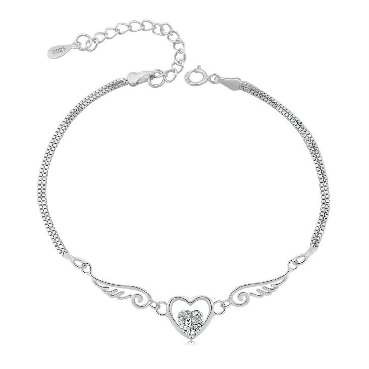 Pure Sterling Silver Double Angel Wings Heart Charm Bracelet-Charm Bracelets-Kirijewels.com-purple-Kirijewels.com