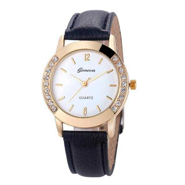 Free Diamond Analog Leather Quartz Wrist Watch-Watch-Kirijewels.com-Watch box-Kirijewels.com