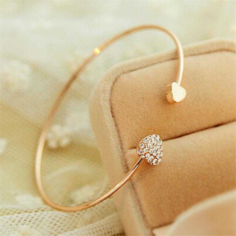 Double Heart Open Bangle-bangle-Kirijewels.com-Gold-Kirijewels.com