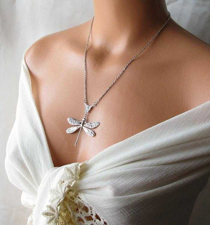 Free Silver Plated Dragonfly Pendant Necklace-Necklace-Kirijewels.com-Kirijewels.com