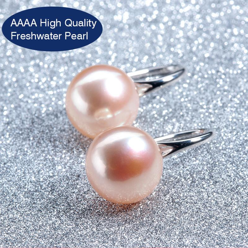 High Luster Moon Sterling Silver Pearl Earrings-Stud Earrings-Kirijewels.com-9 to 10mm pearl-white pearl-Kirijewels.com