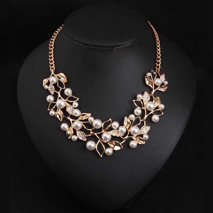 Free Leaves Simulated Pearl Ethnic Necklace-Pendant Necklaces-Kirijewels.com-Gold Plated-Kirijewels.com