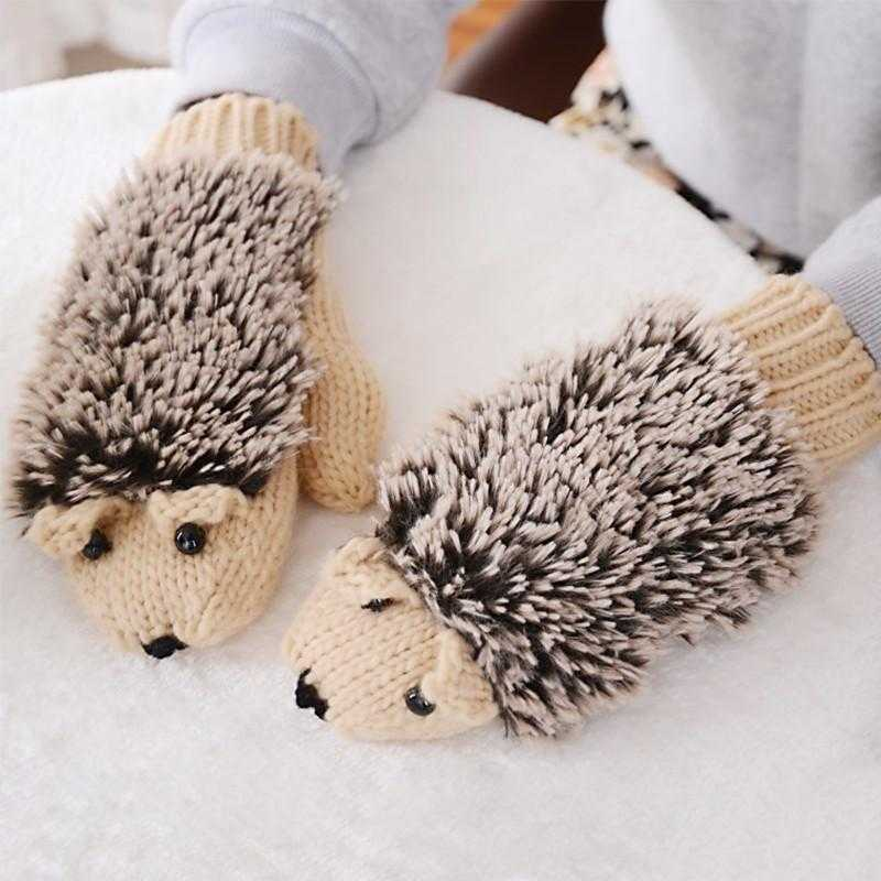 Hedgehog Shape Winter Mittens-Gloves & Mittens-Kirijewels.com-Beige-Kirijewels.com