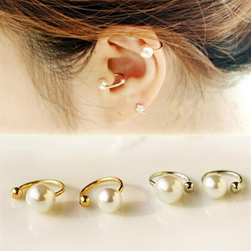Simulated Pearl Cuff Earrings-Clip Earrings-Kirijewels.com-gold-Kirijewels.com