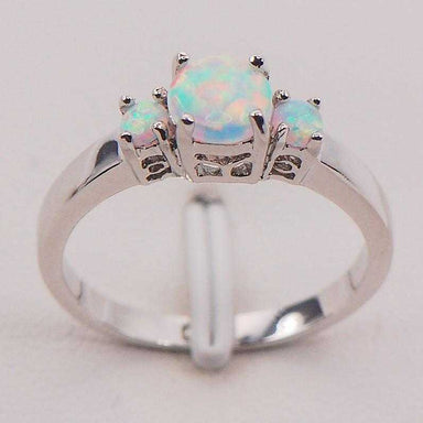 Sterling Silver Exquisite White Fire Opal Ring-Ring-Kirijewels.com-10-Platinum Plated-Kirijewels.com