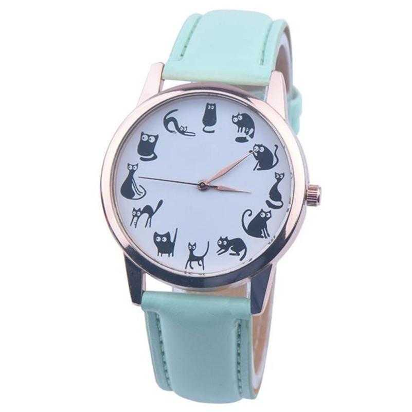 Luxury Cat Leather Wrist Watch-Women's Watches-Kirijewels.com-Black-Kirijewels.com