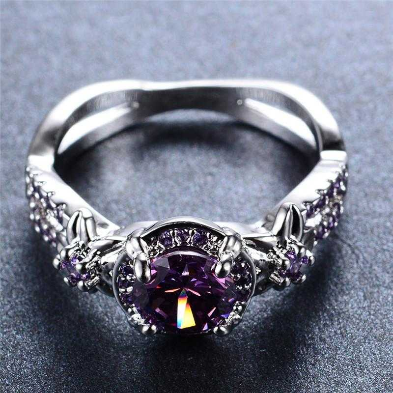 Free Sterling Silver Purple Zircon Claw Ring-Rings-Kirijewels.com-11-Purple-Kirijewels.com