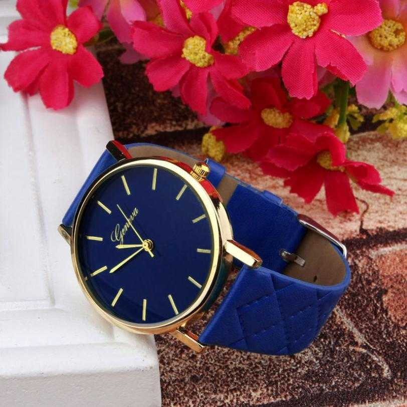 Geneva Casual Leather Analog Wristwatch-Women's Watches-Kirijewels.com-Red-Kirijewels.com