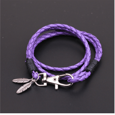 Leather Charm Friendship Feather Bracelet-Charm Bracelets-Kirijewels.com-Purple-Kirijewels.com