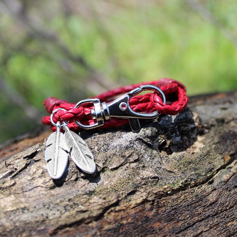 Leather Charm Friendship Feather Bracelet-Charm Bracelets-Kirijewels.com-Red-Kirijewels.com