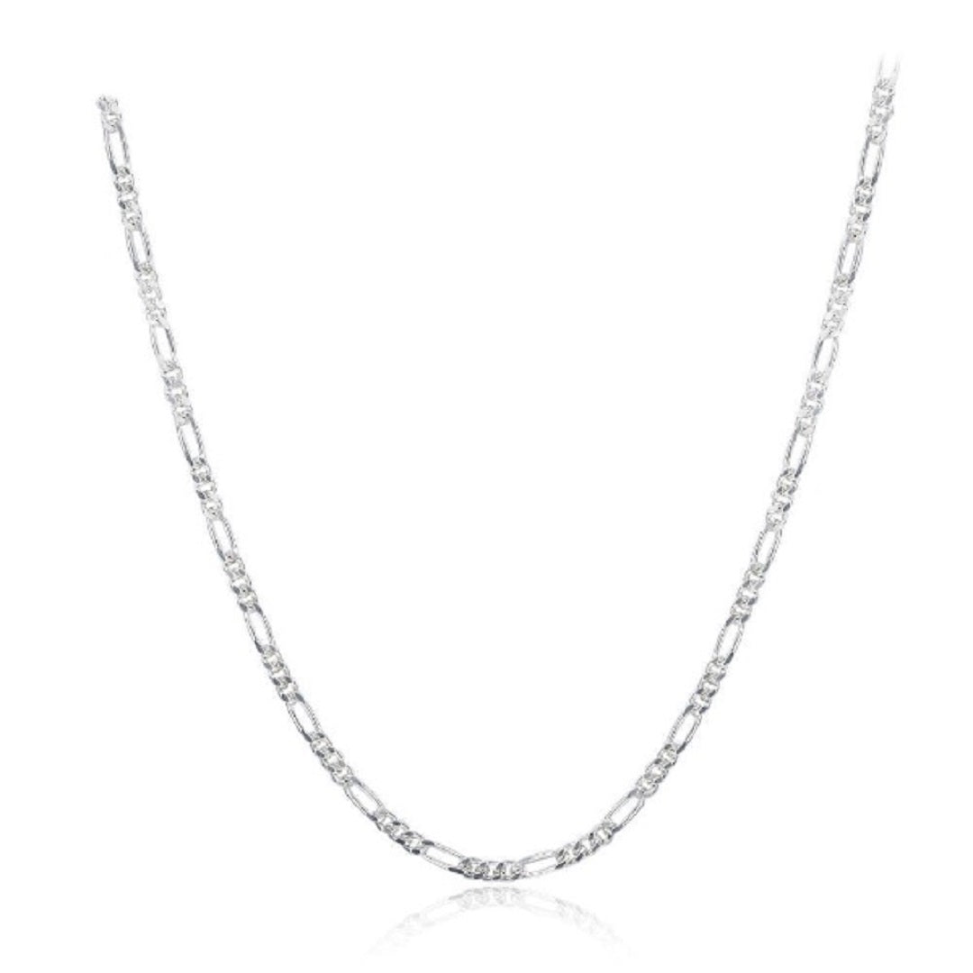 Figaro Sterling Silver Chain Necklace