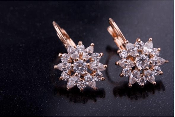 Zircon Stone Flower Stud Earrings-Stud Earrings-Kirijewels.com-Rose Gold JIE014-Kirijewels.com