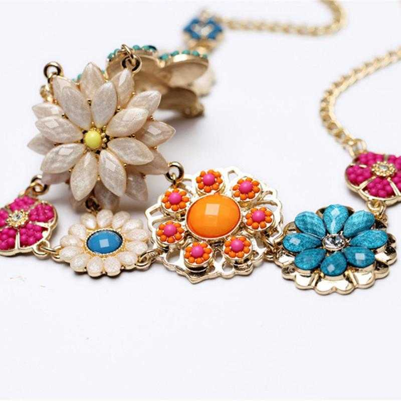 Free Colorful Flower Beaded Necklace-Necklace-Kirijewels.com-Kirijewels.com
