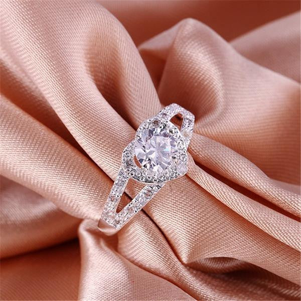 Free Follow Me Silver Plated Heart Crystal Wedding Ring-Ring-Kirijewels.com-6-Kirijewels.com