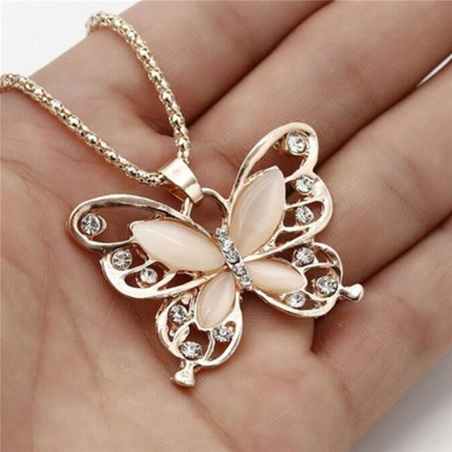 Gold Opal Butterfly Pendant Necklace-Pendant Necklaces-Kirijewels.com-Gold-United States-Kirijewels.com