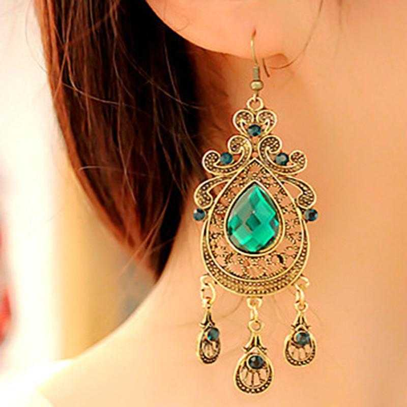 Green Water Drop Earrings-earrings-Kirijewels.com-gold-Kirijewels.com