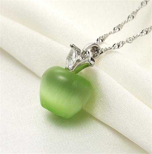Free Apple Necklace-Necklace-Kirijewels.com-Platinum Plated-green-Kirijewels.com