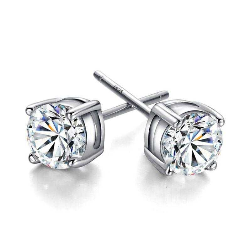Korean Silver Plated Round Zirconia Earrings-Stud Earrings-Kirijewels.com-3mm-Kirijewels.com