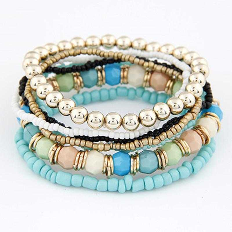 Multi Layer Beads Bracelet-Bracelet-Kirijewels.com-Light Blue-Kirijewels.com