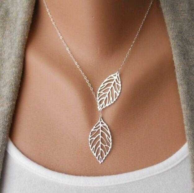 Free Leaf Necklace-Necklace-Kirijewels.com-Gold 2leaves-Kirijewels.com
