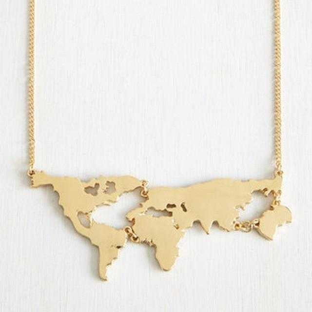 World's Map Necklace-Necklace-Kirijewels.com-Black-Kirijewels.com