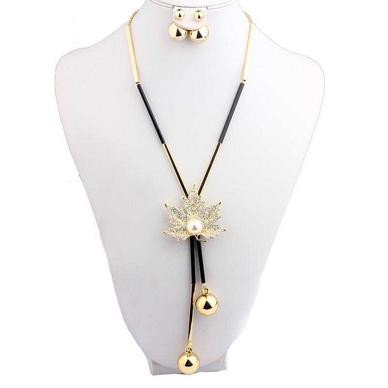Free Maple Leaf Long Chain Necklace-Chain Necklaces-Kirijewels.com-18K Gold Plated-Clear-Kirijewels.com